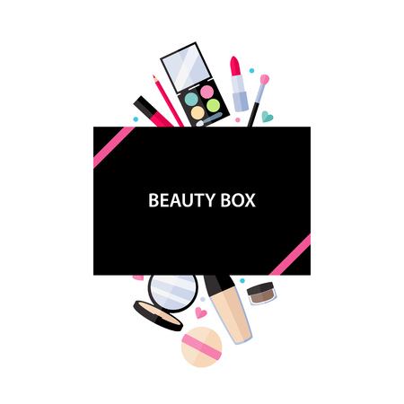 product box: Beauty box cosmetics service vector illustration. Make up beauty accessories design.