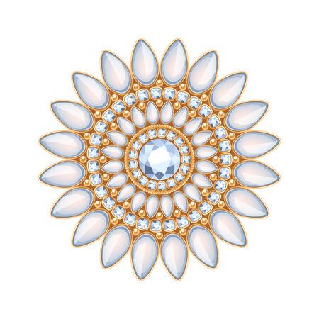 fashion jewelry: Elegant gemstones vector jewelry decoration. Ethnic floral vignette. Good for fashion jewelry store design logo. Illustration