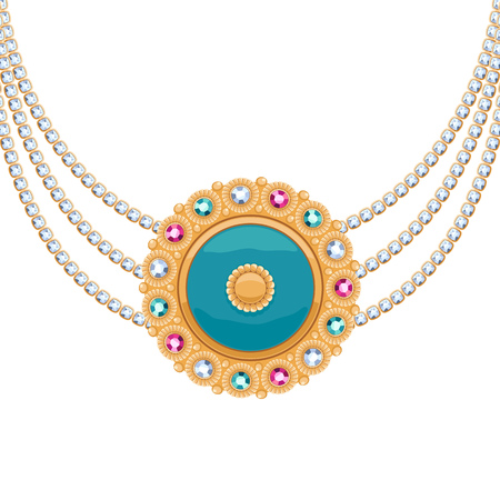 necklace: Golden round pendant necklace with jewelry gemstones on diamond chains. Precious necklace. Ethnic indian style brooche.