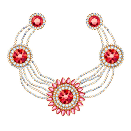 jewellery: Golden round pendants necklace with jewelry ruby gemstones on diamond chains. Precious necklace. Ethnic indian style brooche.