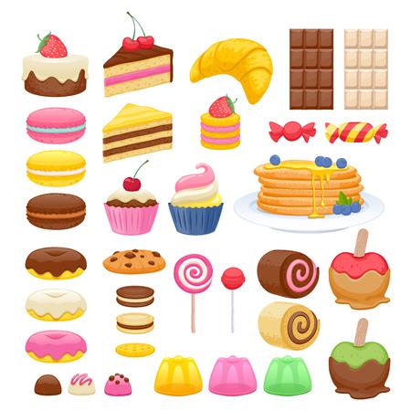 달콤한 음식 아이콘의 집합입니다. 사탕 과자 케이크 도넛 마카롱 쿠키 젤리 롤리팝. 일러스트