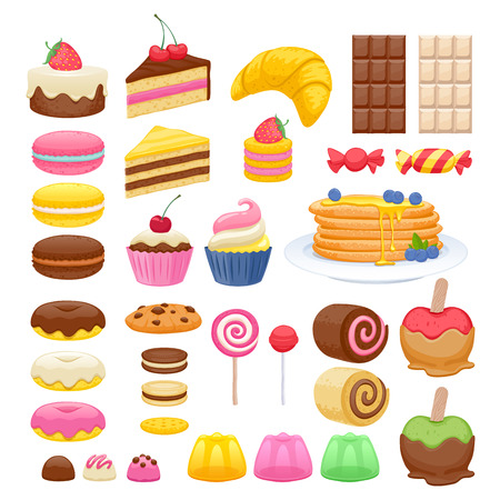 Conjunto de iconos de alimentos dulces. Dulces del Lollipop del caramelo de la jalea rosquilla macarrones cookie. Foto de archivo - 45965788