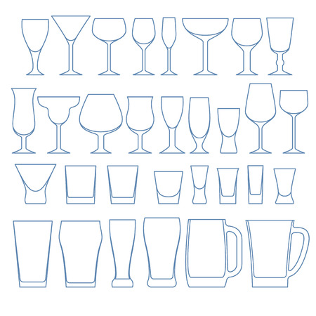 Alcohol drinks glasses set outline vector illustration. Wine whiskey vodka beer crockery.