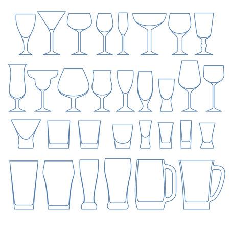 contorno: Bebidas alcohólicas vasos establece la ilustración del vector del esquema. Vino whisky vajilla cerveza vodka. Vectores