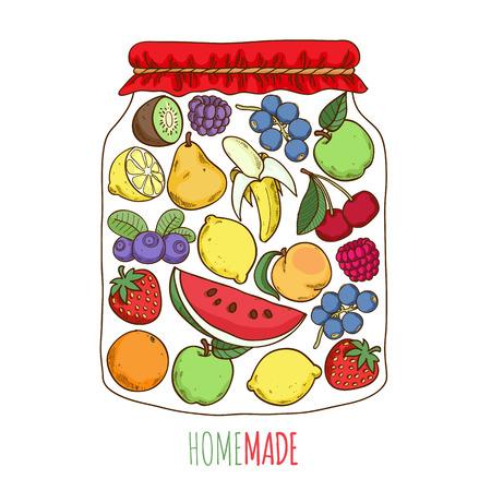 hand jam: Home made fruit berry jam preserves conceptual illustration. Lemon banana apple pear watermelon strawberry etc.