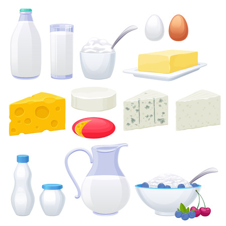 lacteos: Leche productos lácteos iconos conjunto. Yogur queso crema mantequilla ilustración vectorial. Vectores