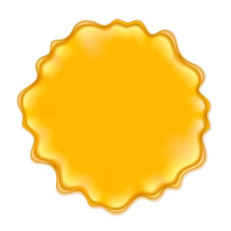 mermelada: Mancha amarilla aislada en el fondo blanco. Jalea pintura miel o jugo de lugar.