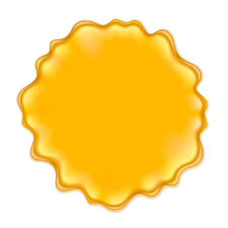 Yellow blotch isolated on white background. Jam jelly honey paint or juice spot. Illustration