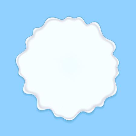 smudge: Milk, yogurt or cream blot. White smudge on blue background.