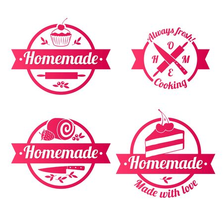 homemade: Homemade sweets red labels badges with ribbons set. Cupcake knife roll plunger vector illustration.