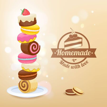 homemade: Stack of sweets on plate vector illustration. Candy sweets Donut macaroon cookie jelly roll cookies - homemade sweets. Illustration