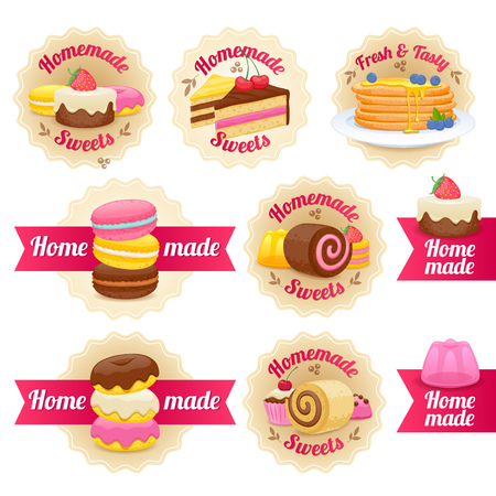 homemade cake: Homemade sweets labels badges with ribbons set. Candy sweets lollipop cake donut macaroon cookie jelly vector illustration. Illustration