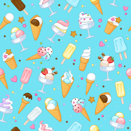 Colorful sweet ice cream icons seamless background. Vector illustration. Illustration