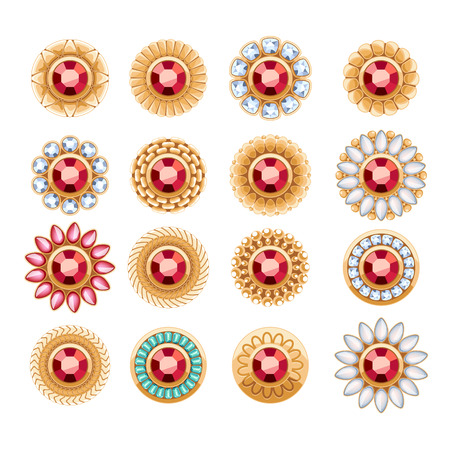 jewelry store: Elegant rubies gemstones vector jewelry round buttons rivets decorations set. Ethnic floral vignettes. Good for fashion jewelry store design logo.