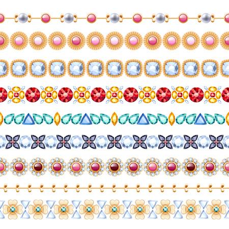 gemstones: Colorful gemstones seamless horizontal borders set. Ethnic indian style design. Chain bracelet necklace jewelry. Illustration