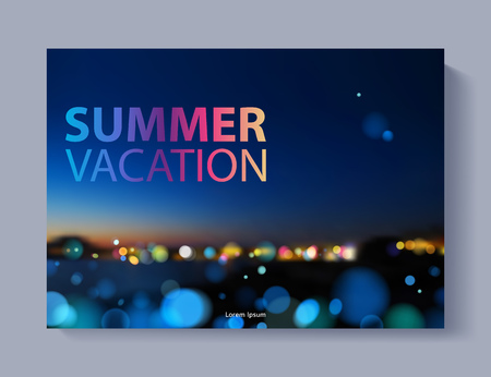 Cover design vector illustration - travel theme. Brochure, flayer, poster, booklet, magazine concept. Abstract night view with colorful lights. Summervacation. Ilustração