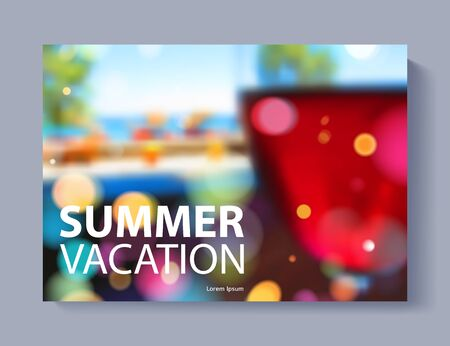 report card: Cover design vector illustration - travel theme. Brochure flayer poster booklet magazine concept. Blurry wine glass cafe restaurant at the seaside illustration. Summer vacation.