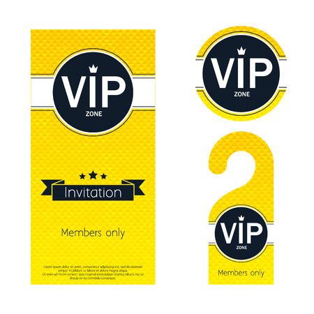vip badge: VIP party premium invitation card, warning hanger and round label badge. Golden faceted mosaic design template set. Simple minimalistic style with crown and ribbon. Illustration