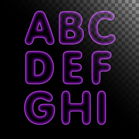 fluorescent tube: Purple x-ray neon light glowing letters with transparency set. Abc alphabet text symbols vector illustration.