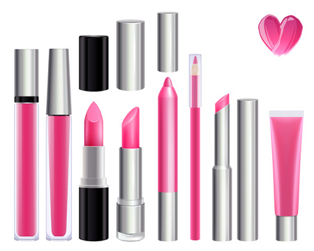 gloss: Make-up set for lips. Lipstick lip gloss smudge pencil lip liner. Pink color. Illustration