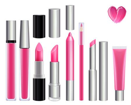 lip gloss: Make-up set for lips. Lipstick lip gloss smudge pencil lip liner. Pink color. Illustration