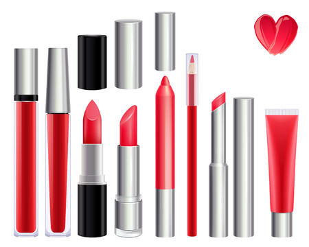 lips: Make-up set for lips. Lipstick lip gloss smudge pencil lip liner. Red color.