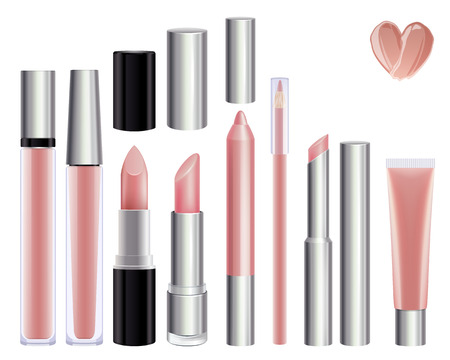 nude: Make-up set for lips. Lipstick lip gloss smudge pencil lip liner. Nude color.