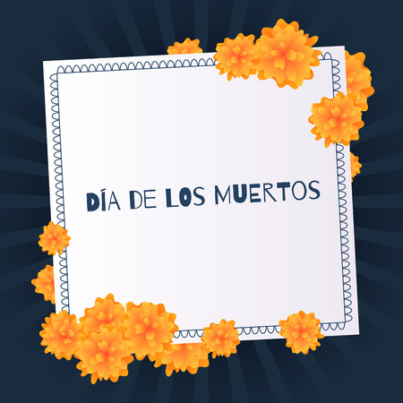 Dia de muertos Day of the dead background with marigolds.