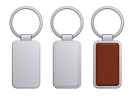keychains: Realistic keychains pendants templates set. Metal and leather designs. Vector illustration isolated.