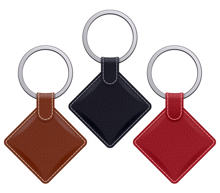 key in chain: Realistic keychains pendants templates set. Square leather designs. Vector illustration isolated. Illustration