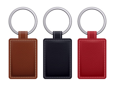 ringe: Realistische Schlüsselanhänger Anhänger Vorlagen eingestellt. Leder-Designs. Vektor-Illustration isoliert.