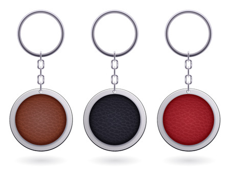 trinket: Realistic keychains pendants templates set. Round leather designs. Vector illustration isolated.