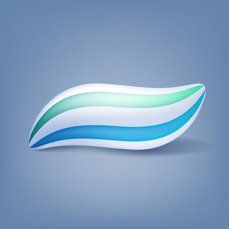 beauty icon: Toothpaste blot blob isolated vector illustration. Green and blue mint stripes. Illustration