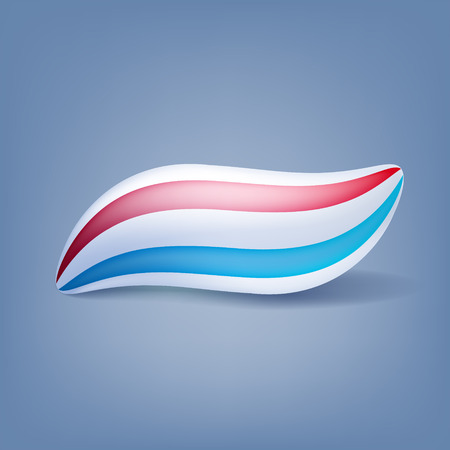 red white blue: Toothpaste blot blob isolated vector illustration. Red and blue mint stripes. Illustration