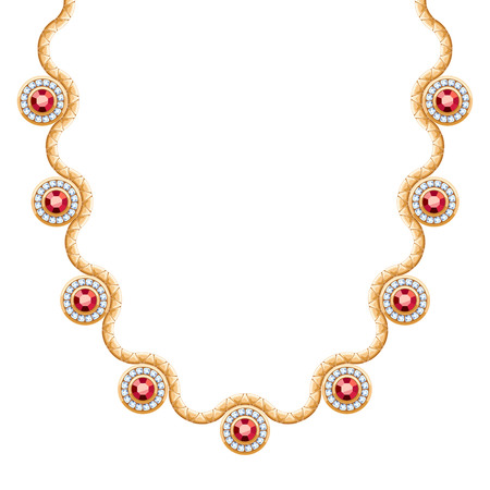personal accessory: Wave chain golden metallic necklace or bracelet with rubies pendants. Personal fashion accessory design.