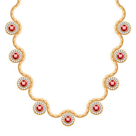 pendants: Wave chain golden metallic necklace or bracelet with rubies pendants. Personal fashion accessory design.