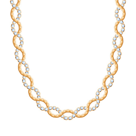 personal accessory: Twisted chain golden metallic necklace or bracelet with diamonds. Personal fashion accessory design. Illustration