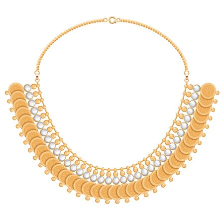 personal accessory: Chains and gemstones golden metallic necklace with round pendants. Personal fashion accessory design. Indian style.