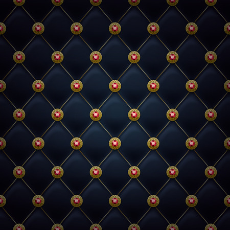 gemstone: Quilted seamless pattern. Black color. Golden pins with rubies stitching rivets on textile.