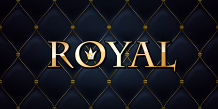 black sign: Royal abstract quilted background, diamonds and golden letters with crown.
