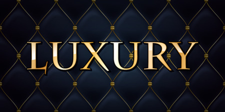 Luxury premium abstract quilted background, golden letters. Stock Illustratie