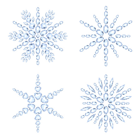 jewels: Diamond snowflakes set vector illustration. Winter christmas gemstones jewelry decorations. Holiday symbols. Illustration