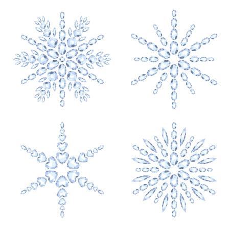 fiambres: Los copos de nieve del diamante establece la ilustraci�n vectorial. Navidad Invierno piedras preciosas joyas decoraciones. S�mbolos de vacaciones.