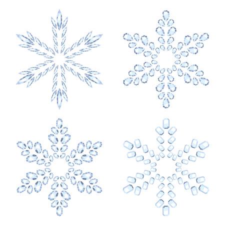 snowflake snow: Diamond snowflakes set vector illustration. Winter christmas gemstones jewelry decorations. Holiday symbols. Illustration