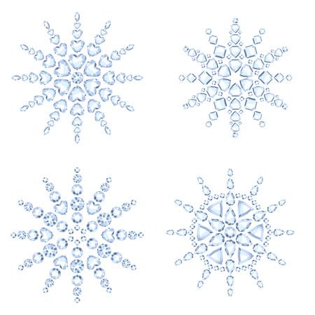 fiambres: Los copos de nieve del diamante establece la ilustración vectorial. Navidad Invierno piedras preciosas joyas decoraciones. Símbolos de vacaciones.