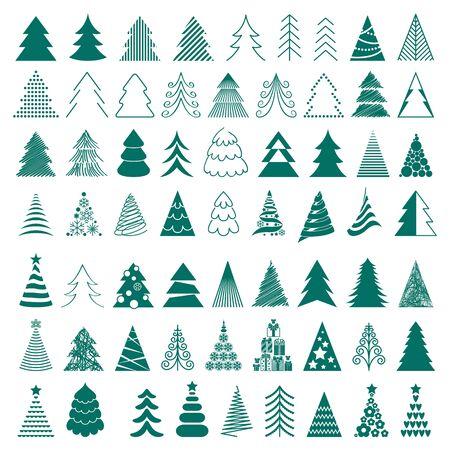 arbol de pino: Los árboles de Navidad iconos ilustración gran conjunto de vectores. Diferentes estilos.