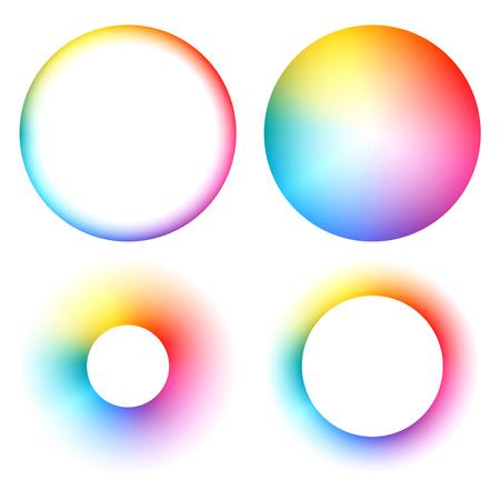 Colorful spectrum rainbow round frames set vector illustration. Illustration
