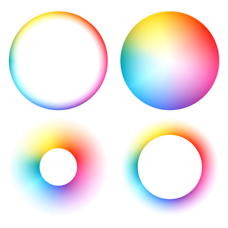 Colorful spectrum rainbow round frames set vector illustration. Stock Illustratie