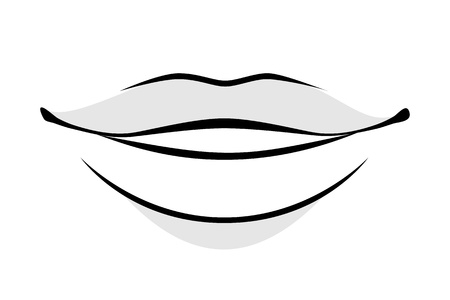 Human lips simple style vector illustration. Woman or man face part icon.