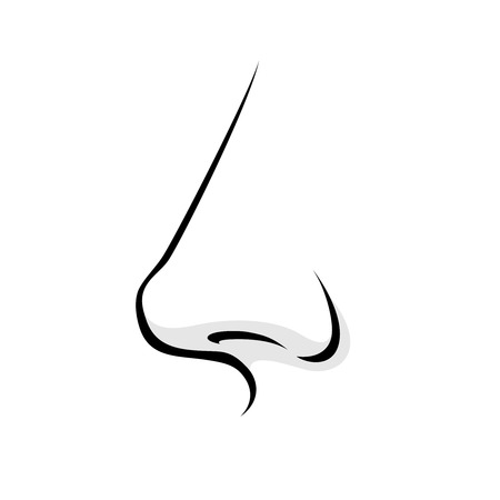 Human nose simple style vector illustration. Woman or man face part icon.